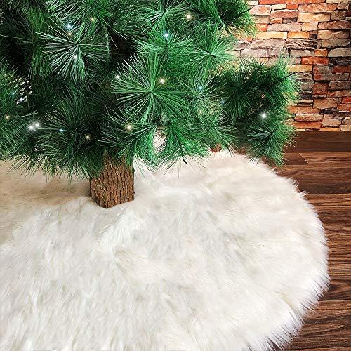 Deggodech 78cm Weihnachtsbaum Röcke Weiß Plüsch Weihnachtsbaum Rock Groß Weißer Rund Weihnachtsbaumdecke Fell Christbaumständer Teppich für Weihnachten Wohnkultur (Weiß, 78cm/31zoll)