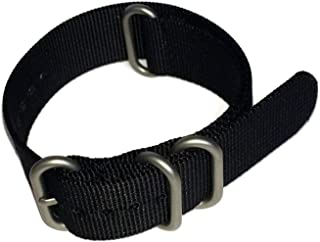 N.A.T.O Zulu G10 Style Watch Strap 4 Ring Black with Steel Buckle 18mm,20mm,22mm,24mm