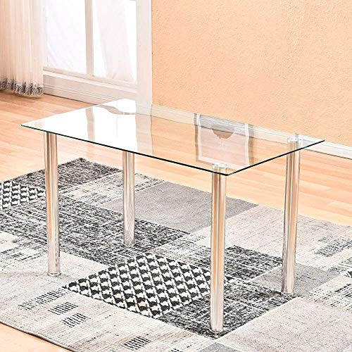 nozama Glass Dining Table with Chrome Legs Glass Rectangle Kitchen Table Modern Clear Dining Table Simple Glass Kitchen Table for 4 Person