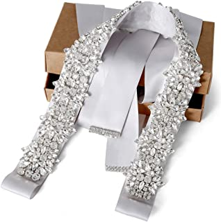 Wedding Dress Belt with Rhinestone Crystal Silver Belt for Women Gown Evening Prom Clothes
