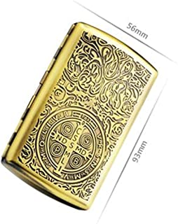 FSHUO Cigarette Box, Copper Retro Cigarette Case Portable Cigarette Case 20 Large (Color : Yellow, Size : 5.6 * 9.3cm)