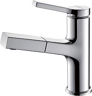 Lonheo Wasserhahn Bad Armatur mit herausziehbarer Brause zum Haarewaschen, Chrom Waschtischarmatur Einhebelmischer für Waschbecken