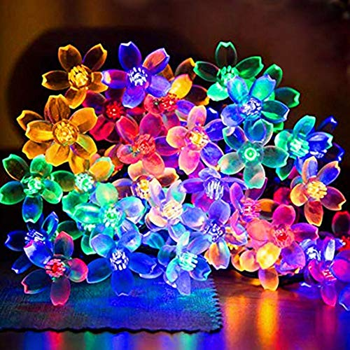 Fairy String Lights Christmas Decorative Lights 33 Feet 100 LEDs, 8 Flash Modes with Tail Plug Connectable Cherry Flower Decoration Novelty Light for Party, Patio, Wedding, Home and Garden
