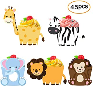 45 Pack Zoo Animal Cupcake Toppers Cupcake Wrappers For Jungle Safari Baby Shower Decorations,Kids Birthday Party Supplies