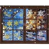 JUN-H 218 pegatinas navidad copos de nieve pegatinas autoadhesivas para ventanas de Navidad decoración de ventanas para puertas, escaparates, vitrinas, decoración de frentes de cristal