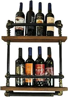 Organisation de rangement de cuisine Support mural pour casier à vin à 2 niveaux en métal pour 5 bouteilles debout libre  ...