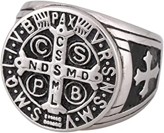 Zovivi St Benedict Exorcism Stainless Steel Ring Demon Protection Ghost Hunter CSBP