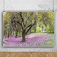 HiYash 7x5ft美しい桜の木草写真背景公園桜の肖像写真写真スタジオプロの背景カーテン家族経営の写真スタジオ写真
