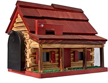 Log Cabin with Porch Wooden Mailbox Red Amish Made in USA