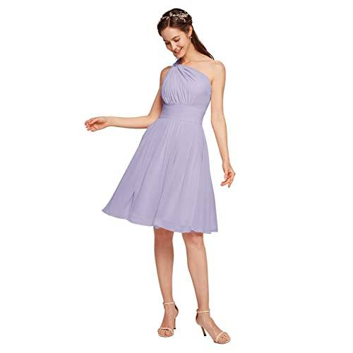 Stock One Shoulder Lace Chiffon Bridesmaid Dresses Short Prom Party Gowns Purple