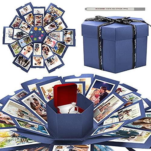 WisFox Explosion Box, Creativo DIY Hecho a Mano Sorpresa Explosión Caja de Regalo Amor Memoria, Álbum de Fotos de Scrapbooking Caja de Regalo para Cumpleaños Día de San Valentín Aniversario Navidad