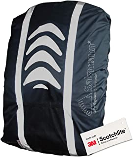 Salzmann Reflective and Waterproof Backpack Cover   Made with 3M Scotchlite   High Visibility Raincover for Rucksacks