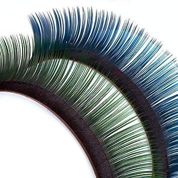 Pestañas Mink, bicolor, en las raíces color negro profundo, con la punta azul o verde Size 13 mm, Color negro/verde