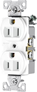 Eaton BR15W-SP-L 15-Amp, 125-Volt Commercial Grade Back and Side Wire Duplex Receptacle, White
