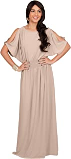 Womens Split Sleeves Smocked Elegant Cocktail Long Maxi Dress