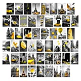 Wall Collage Kit Eiffel Tower Decor - Aesthetic Pictures Posters Black and white Paris Wall Art Romantic Modern Cityscape Yellow Umbrella Car Photo for Home Teen Girls Bedroom Dorm 50 Set 4x6inch