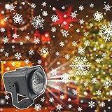 Luces de Proyector Navidad, Proyector LED de Navidad,Tarjetas de Película de Patrón de Cuatro Colores Giratorias Intercambiables Lámpara de Proyección Interior Lámpara de Copo de Nieve Dinámica
