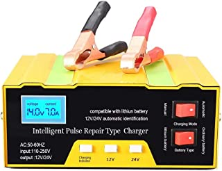 Smart batteriladdare 12V 24V Intelligent underhåll för användning av motorcykelbåt gräsklippare, passar blybatterier (gul)