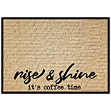 """New Mungo Coffee Bar Mat - Coffee Bar Accessories for Coffee Bar Decor - Coffee Decor for Coffee Station - Rise & Shine It's Coffee Time - Burlap Placemat with Fabric Backing - 20""""x14"""""""
