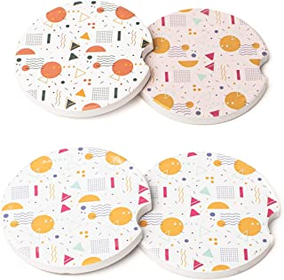 Avamie Car Coasters 4 Pack, Car Cup Holder Coasters, Absorbent Ceramic Coasters for Car 2.56 inch, Modern Artistic Abstrac...