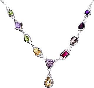 Ravishing Impressions Jewellery Citrino, amatista, peridoto, granate, ahumado y rojo cuarzo piedra preciosa 925, collar de...