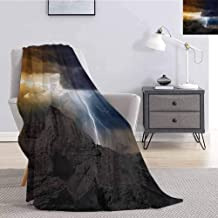 Luoiaax Nature Fuzzy Blankets King Size Thunder Rays from Dark Clouds Hitting Down to The Mountain Storm Theme Art Print Super Soft Fuzzy Elegant Blanket W51 x L60 Inch Grey Orange