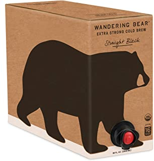 Wandering Bear Extra Strong Organic Cold Brew Coffee On Tap, Straight Black, 96 fl oz - Smooth, Unsweetened, Shelf-Stable,...