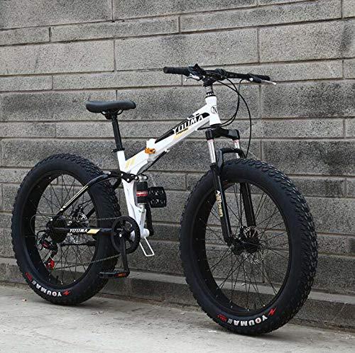 Bicicleta de montaña de 20 pulgadas, bicicleta MTB Fat Tire, bicicleta de montaña con cuadro de doble suspensión, cuadro de acero con alto contenido de carbono, freno de doble disco,C,20 inch 21 speed