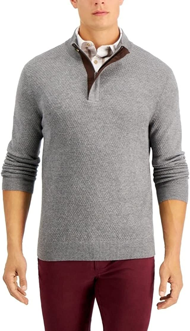Tasso Elba Mens Sweater Pullover XL Sales results No. 1 Gray Quarter-Zip Cheap mail order shopping Long-Sleeve