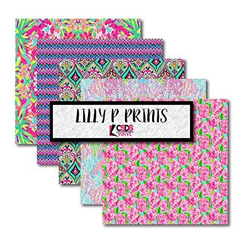 CSDS Vinyl, Lilly P Inspired Printed Vinyl, Printed Adhesive Vinyl, Lilly P Patterned Vinyl, Floral Vinyl Bundle Pack (Adhesive Vinyl)