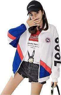 RkBaoye Women's Zip-Front Quick Dry Light Weight Baggy Varsity Jackets