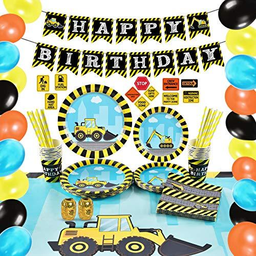 WERNNSAI Conjunto de Suministros de Fiesta Construcción - 117 PCS Decoraciones de Fiesta para Cumpleaños Pancartas Globos Platos Mantel Servilletas Vasos de Papel Pajitas16 Invitados