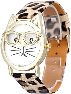 Winhurn Super Cute Cat Glasses Design Analog Quartz Women Wrist Watch (Khaki)