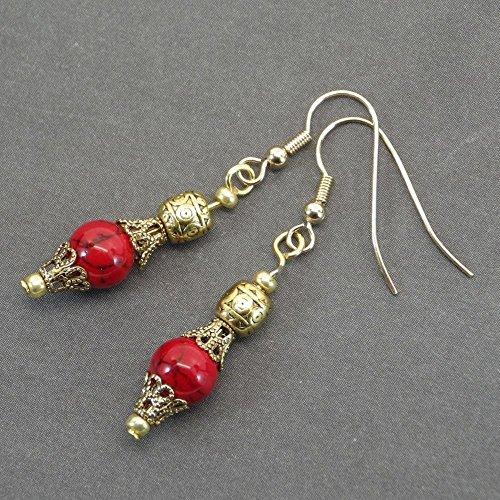 Pendientes Thurcolas en cuentas turquesas rojas reconstituidas y copas de filigrana de...