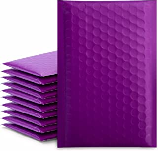 """Fuxury/ Fu Global 4x8"""" 50Pcs Poly Bubble Mailers #000, Self Seal Padded Envelopes Bulk with Bubble Lined Wrap- Purple"""
