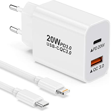 YEONPHOM 20W Caricatore iPhone Rapido USB C e MFi Cavo USB C a Lightning,Caricabatterie USB Parete 2 Porto Power Delivery 3.0&QC3.0 Ricarica Rapida per iPhone 12 Pro Max/Mini/11/XS/XR/X Max/8 Plus/SE
