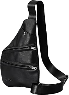 Douguyan Sling Bag, Shoulder Crossbody Chest Bag PU Leather Multipurpose Daypacks Lightweight Hiking Daypack for Men & Women Black