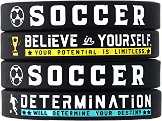 (4-Pack) Soccer Silicone Bracelets with Motivational Sports Quotes - Set of 4 Inspiring Silicone Rubber Wrist Bands - Unisex Soccer Gifts Jewelry Accessories for Boys Girls Men Women