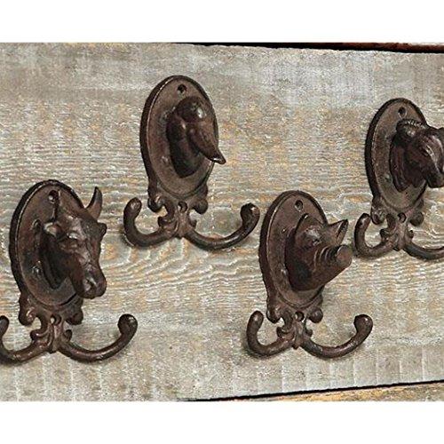 Boltze Wandgarderobenhaken 4er Set Garderobenhaken Tierköpfe Schaf Ente Schwein Kuh 10 cm