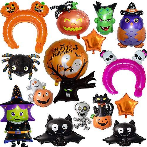 BESLIME Globos de Halloween - Aluminio Conjunto Globos de Calabaza Spider Ghost Balloon Set decoración de la Fiesta de Halloween, 15 unids