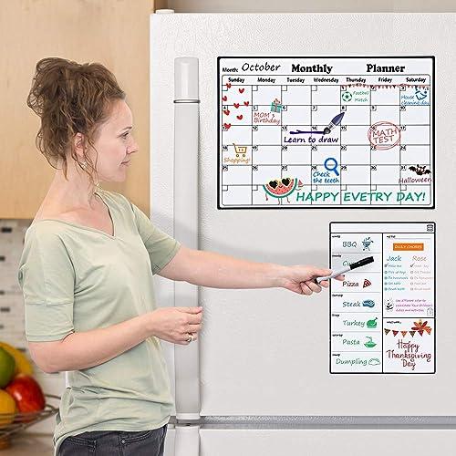 Magnetic Dry Erase Calendar for Refrigerator, Monthly Planner Fridge Calendar Kitchen Magnets Large Whiteboard Erasab...