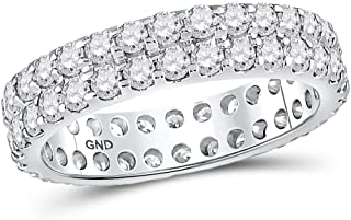 14kt White Gold Womens Round Diamond Double Row Eternity Wedding Band 2.00 Cttw In Prong Setting (SI3 clarity; G-H color)