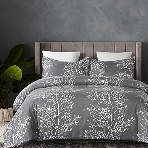 YEPINS Soft Brushed Microfiber Duvet Cover Set with Zipper Closure and Corner Ties, Print Floral and Branch Pattern Design, Grey Colour- King Size