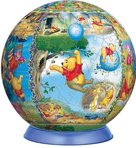 To the forest of 100 acres 3D sphere puzzle Disney 240 piece Welcome (diameter about 15.2cm) (japan import)