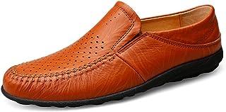 [MUMUWU] 男性用ドライビングローファーカジュアルかつさわやかなプレミアムソール付き本革シューズは滑りにくいボートモカシンドレスシューズではありません (Color : Hollow Reddish brown, サイズ : 24.5 CM)