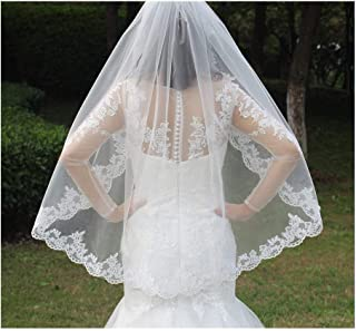 RLYBDL Real Photos One Layer Lace Appliques Edge Short Woodland Wedding Veils with Comb New White Ivory Bridal Veils (Color : Ivory)