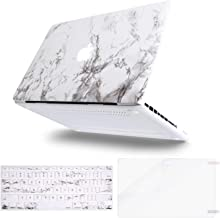 MOSISO Plastic Pattern Hard Case&Keyboard Cover&Screen Protector Only Compatible with Old Version MacBook Pro 13 inch (A1278, with CD-ROM) Release Early 2012/2011/2010/2009/2008, White Marble