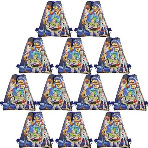 WENTS Toy Story Sacchetti per Feste Zaini con Coulisse 12 Pezzi, Festa di Compleanno per Bambini Forniture Sempre Forniture per Nuotare in Spiaggia Borsa Regalo Goodie String Borse riutilizzabili