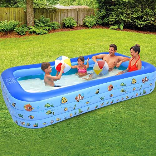 Piscina hinchable grande, rectangular, piscina y piscina para niños, piscina familiar, piscina para jardín, exterior, PVC, fácil de montar (295 x 170 x 55 cm)