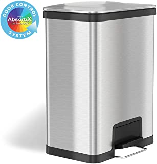 iTouchless 13 Gallon Airstep Step Pedal Trash Can with Odor Control System, Commercial Grade Stainless Steel Rectangular Kitchen Garbage Bin for Home and Office, Silent Lid Open and Close
